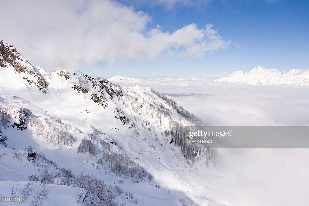 A general view of Mount Aigba in the Rosa Khutor Extreme Park, some 50 km from Russia's Black Sea resort of Sochi, on February 13, 2013. With a year to go until the Sochi 2014 Winter Games, construction work continues as tests events and World Championship competitions are underway. AFP PHOTO / LEON NEAL