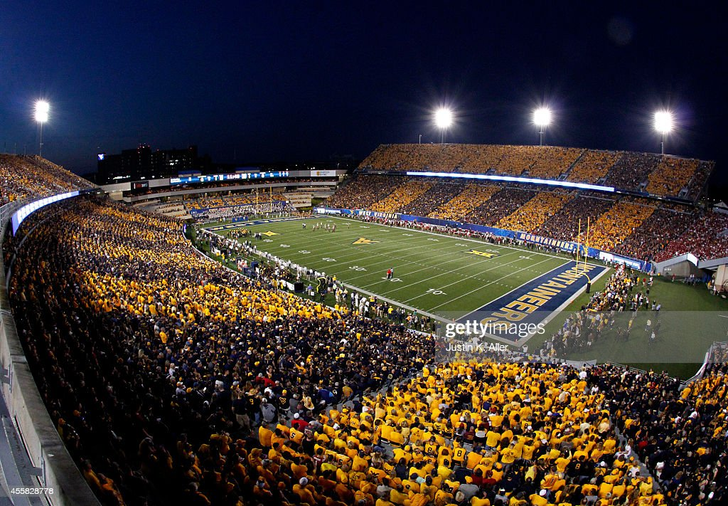 A general view of Mountaineer Field during the game between the Oklahoma Sooners and the West Virginia Mountaineers on September 20 2014 at...