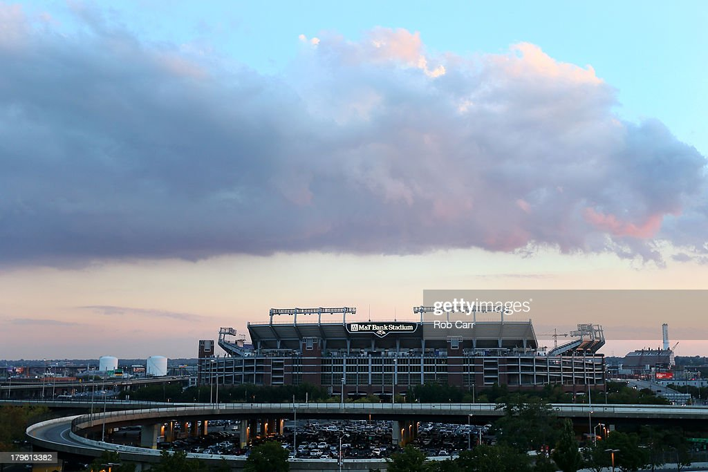 A general view of M&T Bank Stadium, home of the NFL football team Baltimore Ravens, seen from Oriole Park at Camden Yards during the Baltimore Orioles and Chicago White Sox game on September 5, 2013 in Baltimore, Maryland. The Super Bowl champion Ravens are opening the NFL regularl season against the Denver Broncos in Denver.