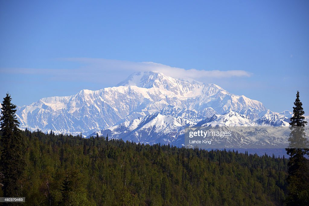 A general view of Mt. McKinley (top center) on May 17, 2014 in Denali National Park, Alaska. According to the National Park service, the summit elevation of Mt. McKinley is 20,320 feet above sea level, making it the highest mountain peak in North America.