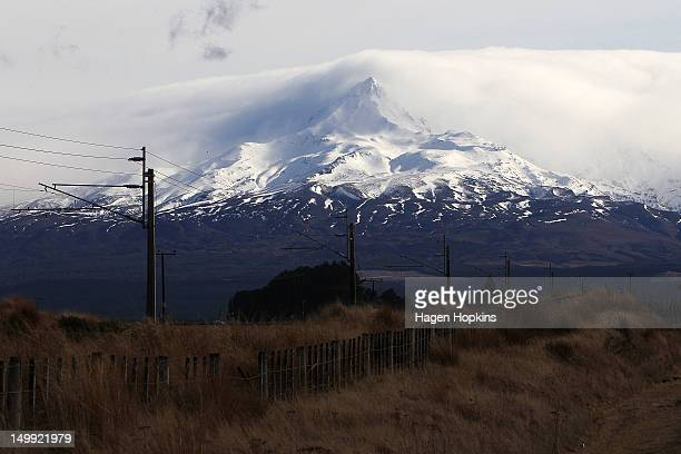 A general view of Mt Ruapehu from Waiouru after Mt Tongariro erupted for the first time in over 100 years on August 7 2012 in Tongariro National Park...
