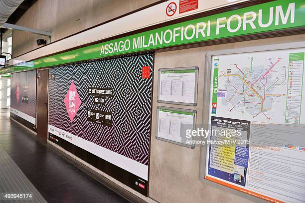 A general view of MTV branding at Assago Milanofiori Forum station ahead of the MTV EMA's 2015 on October 22 2015 in Milan Italy The awards take...