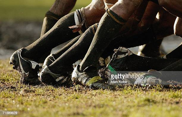 A general view of muddy football boots in a scrum during the Tooheys New Cup Round 10 match between Sydney University and Penrith at Sydney...