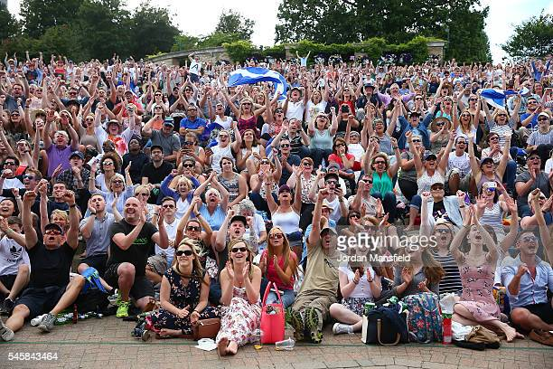 A general view of Murray Mound as supporters celebrate as Andy Murray of Great Britain beats Milos Raonic of Canada in the Men's Singles Final on day...