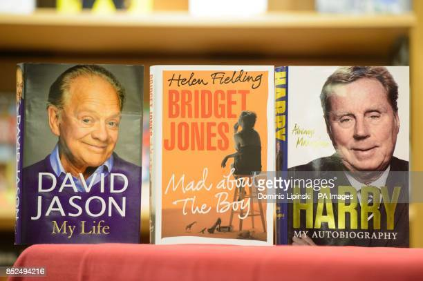 General view of 'My Life' by David Jason 'Bridget Jones Mad About the Boy' by Helen Fielding and 'Always Managing' by Harry Redknapp after Helen...