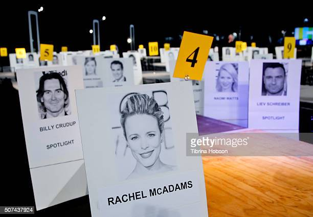A general view of name cards at the 22nd Annual Screen Actors Guild Awards Red Carpet RollOut and Look BehindTheScenes at The Shrine Expo Hall on...