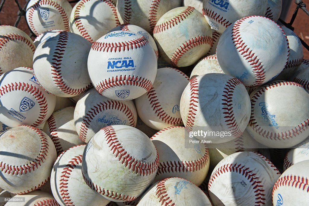 A general view of NCAA baseballs prior to game two of the College World Series Championship Series between the Arizona Wildcats and the Coastal Carolina Chanticleers on June 28, 2016 at TD Ameritrade Park in Omaha, Nebraska.