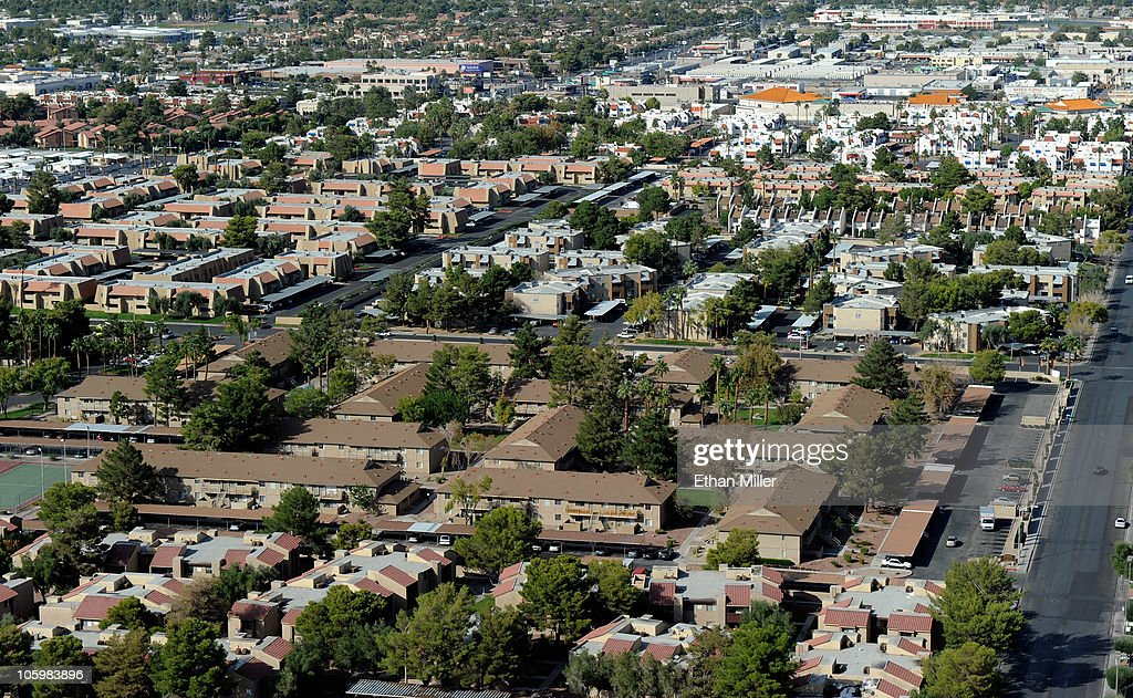 A general view of neighborhoods October 23, 2010 in Las Vegas, Nevada. Nevada once had among the lowest unemployment rates in the United States at 3.8 percent but has since fallen on difficult times. Las Vegas, the gaming capital of America, has been especially hard hit with unemployment currently at 14.7 percent and the highest foreclosure rate in the nation. Among the sparkling hotels and casinos downtown are dozens of dormant construction projects and hotels offering rock-bottom rates. As the rest of the country slowly begins to see some economic progress, Las Vegas is still in the midst of the economic downturn.