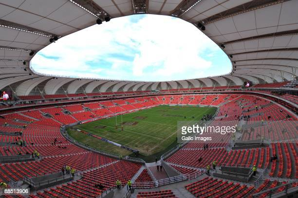 A general view of Nelson Mandela Bay Stadium prior to the start of the British Irish Lions Tour match between Southern Kings and British Irish Lions...