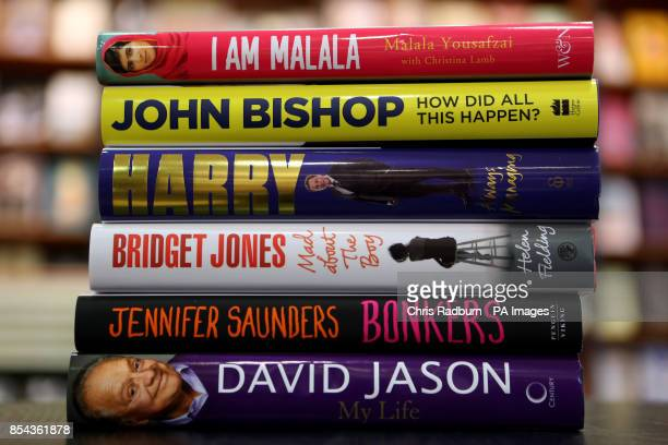 A general view of new books 'I am Malala' by Malala Yousafzai 'How did all this happen' by John Bishop 'Always Managing My Autobiography' by Harry...