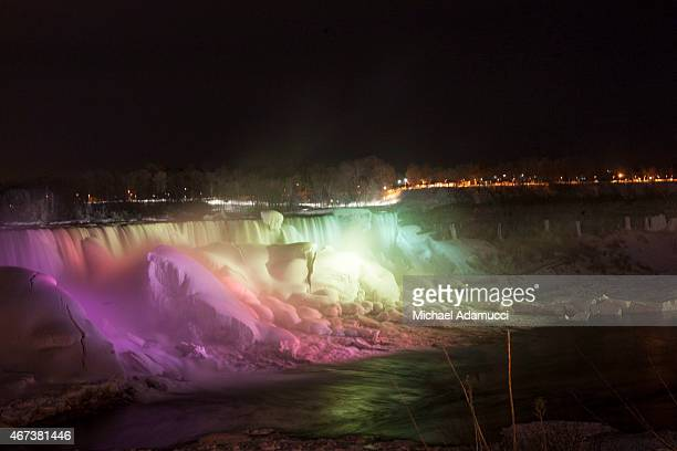 A general view of Niagara Falls during National Landmarks Illuminated Across the US To Shine Light On Ebola Crisis And Show Solidarity With West...
