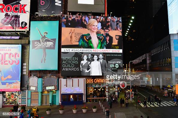 General view of Nicole Kidman during TNT's 23rd Annual Screen Actors Guild Awards preshow viewing in Times Square on January 29 2017 in New York City...