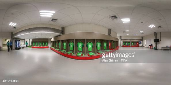 A general view of Nigeria dressing room before the 2014 FIFA World Cup Brazil Group F match between Nigeria v Argentina at Estadio BeiraRio on June...