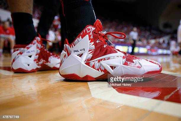 General view of Nike shoes worn by Aaron Craft of the Ohio State Buckeyes during the game against the Indiana Hoosiers at Assembly Hall on March 2...