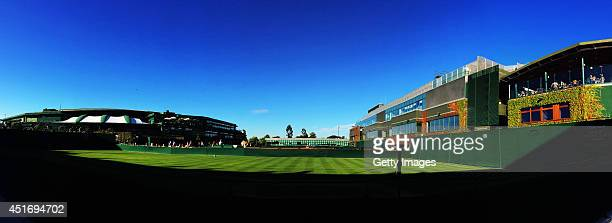 General view of No1 and Centre Court on day ten of the Wimbledon Lawn Tennis Championships at the All England Lawn Tennis and Croquet Club on July 3...