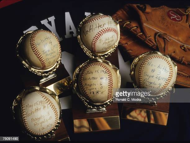 A general view of Nolan Ryan's nohitter balls in September 1986 in Alvin Texas