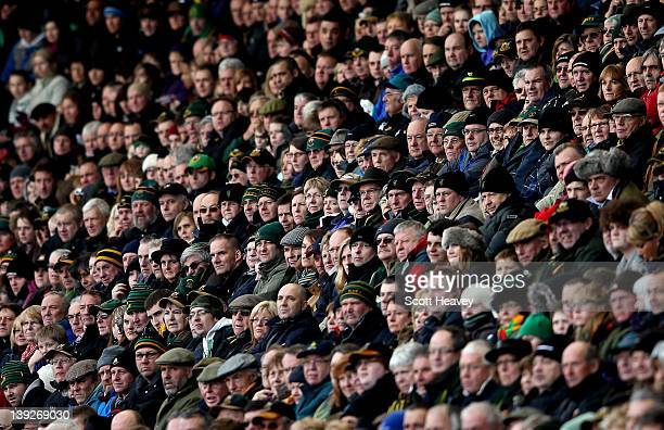 A general view of Northampton fans during the Aviva Premiership match bewteen Northampton Saints and Sale Sharks at Franklin's Gardens on February 18...