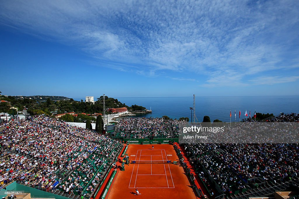 A general view of Novak Djokovic of Serbia in action against Pablo Carreno Busta during day five of the ATP Monte Carlo Rolex Masters Tennis at...