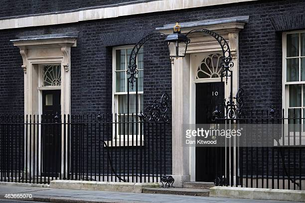 A general view of Number 10 Downing Street's front door on February 17 2015 in London England