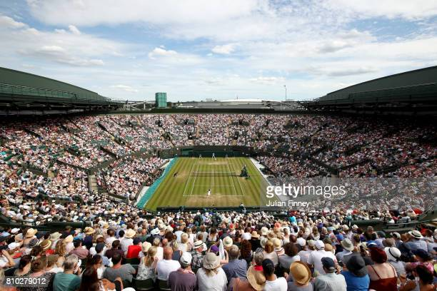 A general view of number one court during the Ladies Singles third round match between Johanna Konta of Great Britain and Maria Sakkari of Greece on...