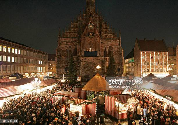 A general view of Nuremberg's market place with the Frauen Kirche in the background is seen prior to the the opening ceremony of the Christmas Market...