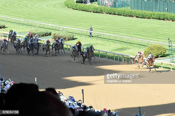 A general view of Nyquist in the lead at The 142nd Kentucky Derby at Churchill Downs on May 7 2016 in Louisville Kentucky