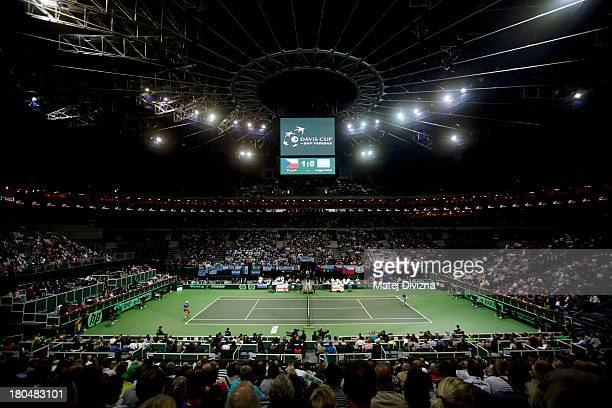 General view of O2 Arena during day one of the Davis Cup semifinal match between Czech Republic and Argentina on September 13 2013 in Prague Czech...