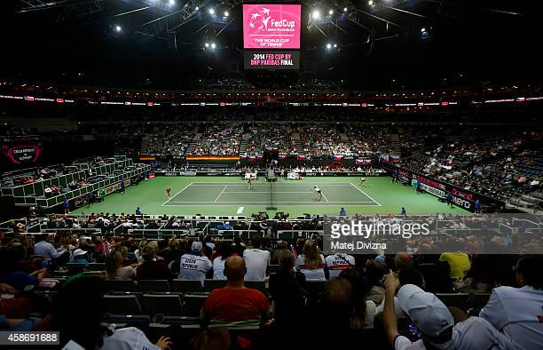 A general view of O2 Arena during day two of the Fed Cup final match between Czech Republic and Germany on November 9 2014 in Prague Czech Republic