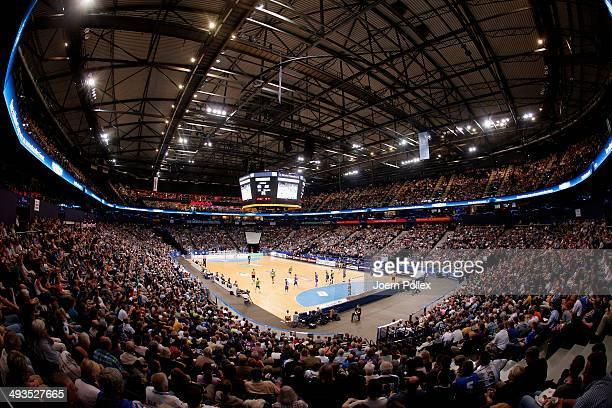 General view of O2 World during the Bundesliga handball match between HSV Handball and TV Emsdetten at O2 World on May 24 2014 in Hamburg Germany