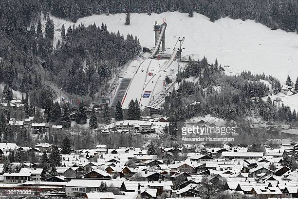 General view of Oberstdorf and ski jumping hill during the 60th Four Hills ski jumping tournament at Erdinger Arena on December 30 2011 in Oberstdorf...