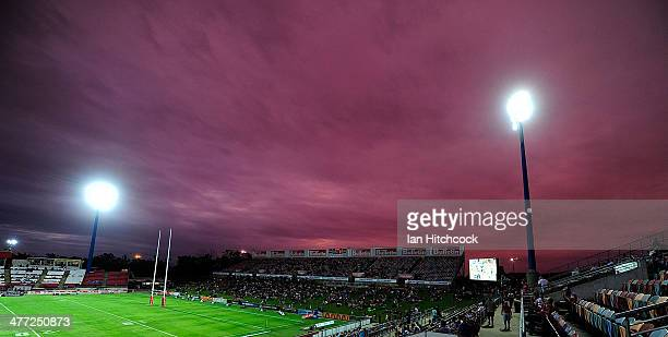 A general view of of the northern grandstand before the start of the the round one NRL match between the North Queensland Cowboys and the Canberra...