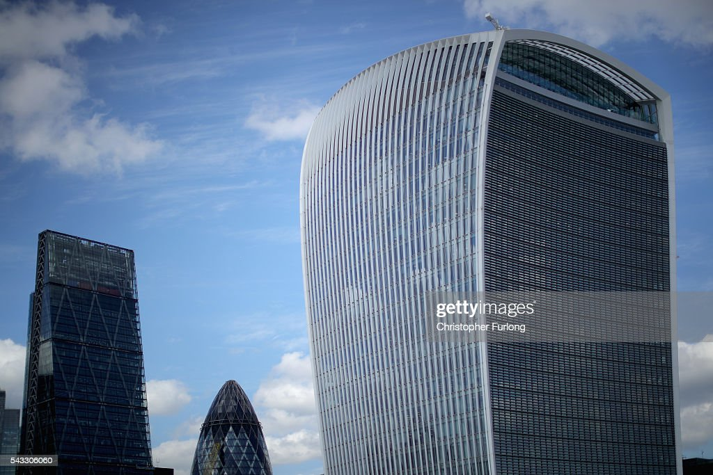 A general view of office buildings in The City of London including the Walkie Talkie (20 Fenchurch St ) as the financial markets face uncertainty in the wake of Brexit on June 27, 2016 in London, England. Earlier today Chancellor George Osborne said that contingency plans were in place to shore up the economy amid ongoing market volatility after Britain's vote to exit the European Union.