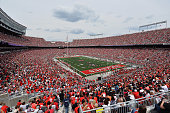 A general view of Ohio Stadium as more than 99000 fans packed in to watch the annual Ohio State Spring Game on April 18 2015 in Columbus Ohio