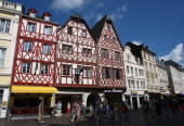 General view of old houses at the Market square on August 9 2008 inTrier Germany Trier ist the oldest town in Germany