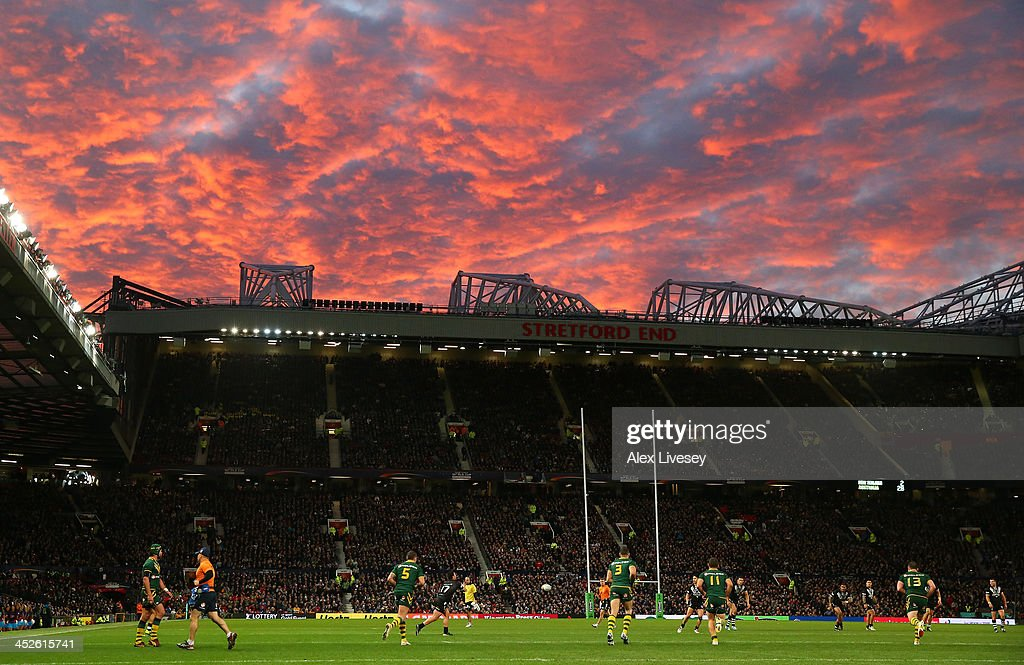 A general view of Old Trafford is seen during the Rugby League World Cup Final between New Zealand and Australia at Old Trafford on November 30, 2013 in Manchester, England.