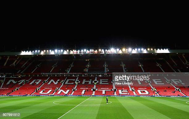 A general view of Old Trafford is seen prior to the Barclays Premier League match between Manchester United and Stoke City at Old Trafford on...