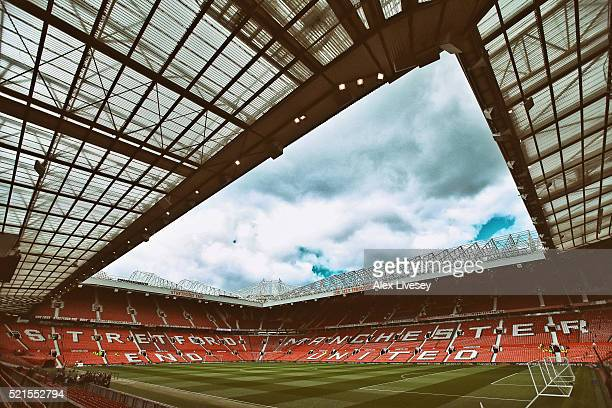 A general view of Old Trafford is seen prior to the Barclays Premier League match between Manchester United and Aston Villa at Old Trafford on April...