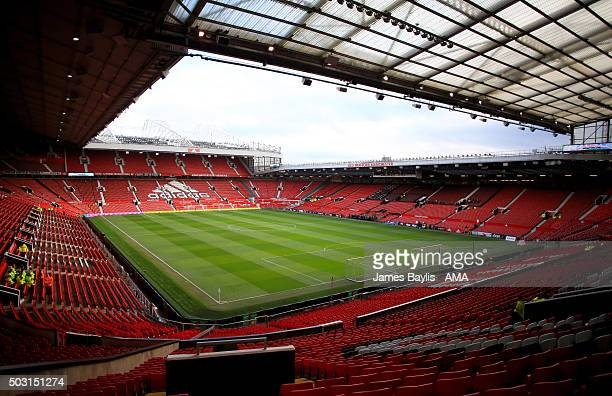 A general view of Old Trafford Stadium home ground of Manchester United prior to the Barclays Premier League match between Manchester United and...