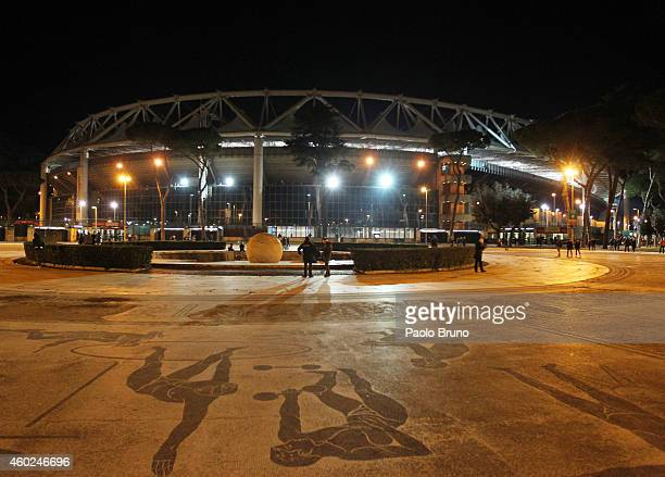A general view of Olimpico Stadium before the UEFA Champions League Group E match between AS Roma and Manchester City FC on December 10 2014 in Rome...