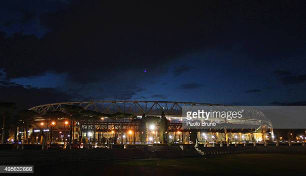 A general view of Olimpico Stadium before the UEFA Champions League Group E match between AS Roma and Bayer 04 Leverkusen at on Olimpico Stadium on...