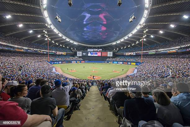 A general view of Olympic Stadium during the game between the Cincinnati Reds and the Toronto Blue Jays on Friday April 3 2015 in Montreal Canada