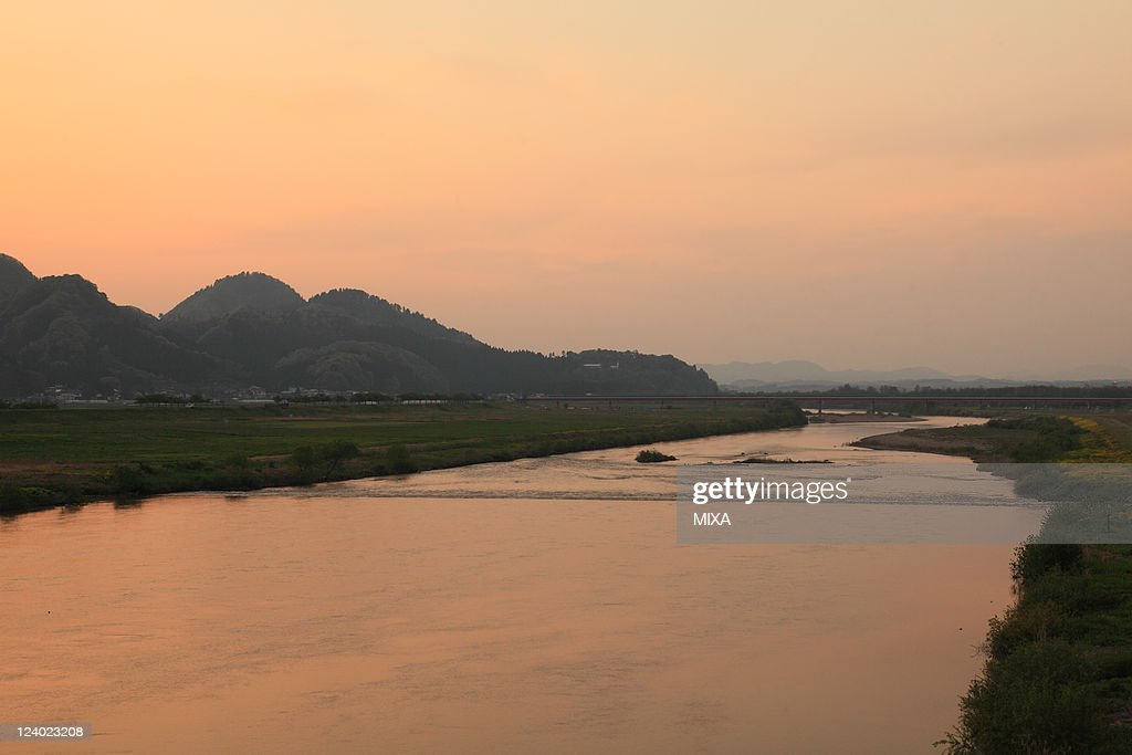 A general view of Omono River and evening glow on May 17, 2010 in Daisen, Akita, Japan.