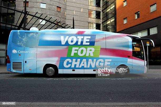 A general view of on of the Conservative party's election battle buses adorned with their 'Vote For Change' slogan on April 15 2010 in Manchester...