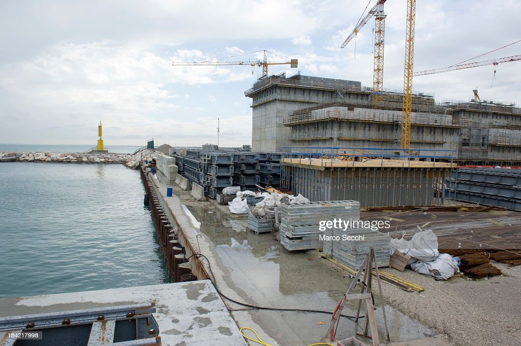 A general view of one of the areas where the gates housing for the MOSE are built is seen on October 12, 2013 in Venice, Italy. The Mose project works towards protecting Venice from high tides and flooding.