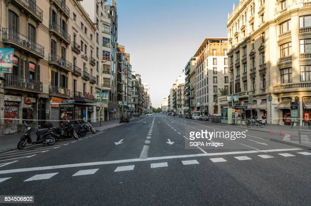 A general view of one of the central streets of Barcelona which is usually very crowded few hours after the recent attack after a van ploughed into...