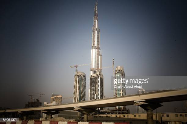 General View of one of the many new skyscrapers being built during a construction boom July 18 2008 in Dubai United Arab Emirates Exploitation of...