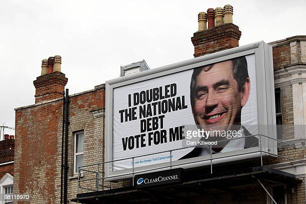 A general view of one of the new Conservative party campaign poster in Shepherd's Bush on March 29 2010 in London United Kingdom As the UK gears up...