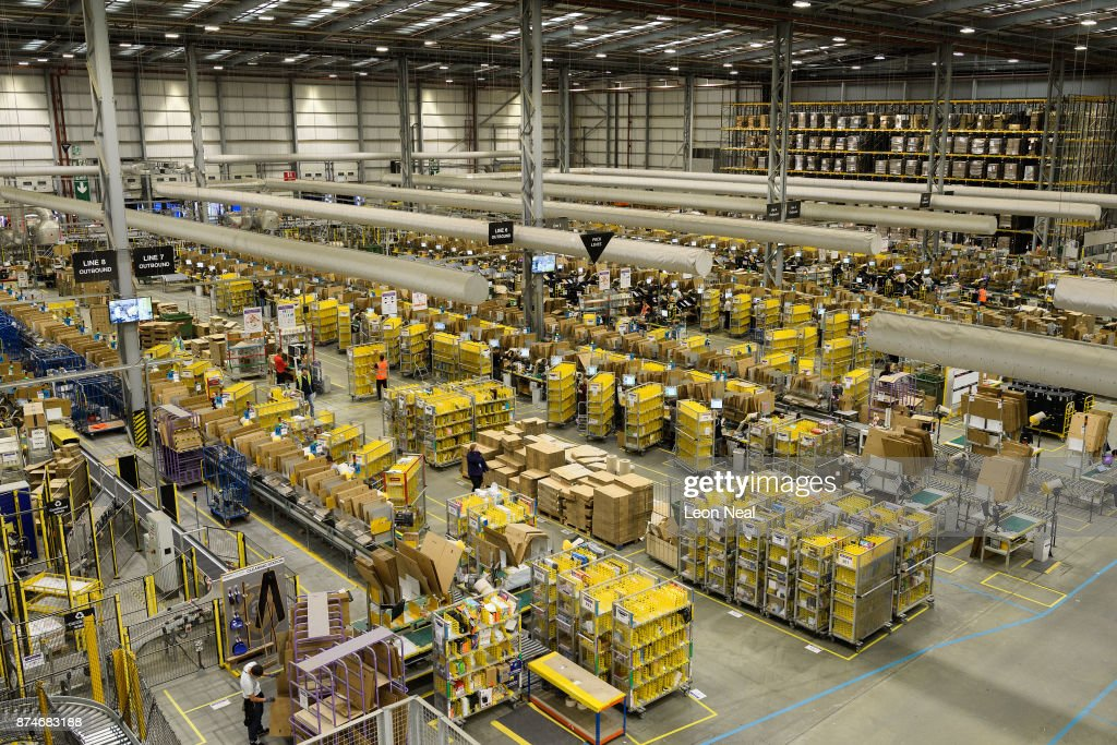 A general view of one of the packing and processing areas in the Amazon Fulfilment centre on November 15, 2017 in Peterborough, England. A report in the US has suggested that over half of all online purchases this Christmas will be made with Amazon.