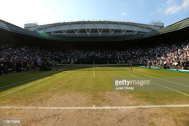 A general view of one of the the baselines on Centre Court during day twelve of the Wimbledon Lawn Tennis Championships at the All England Lawn...