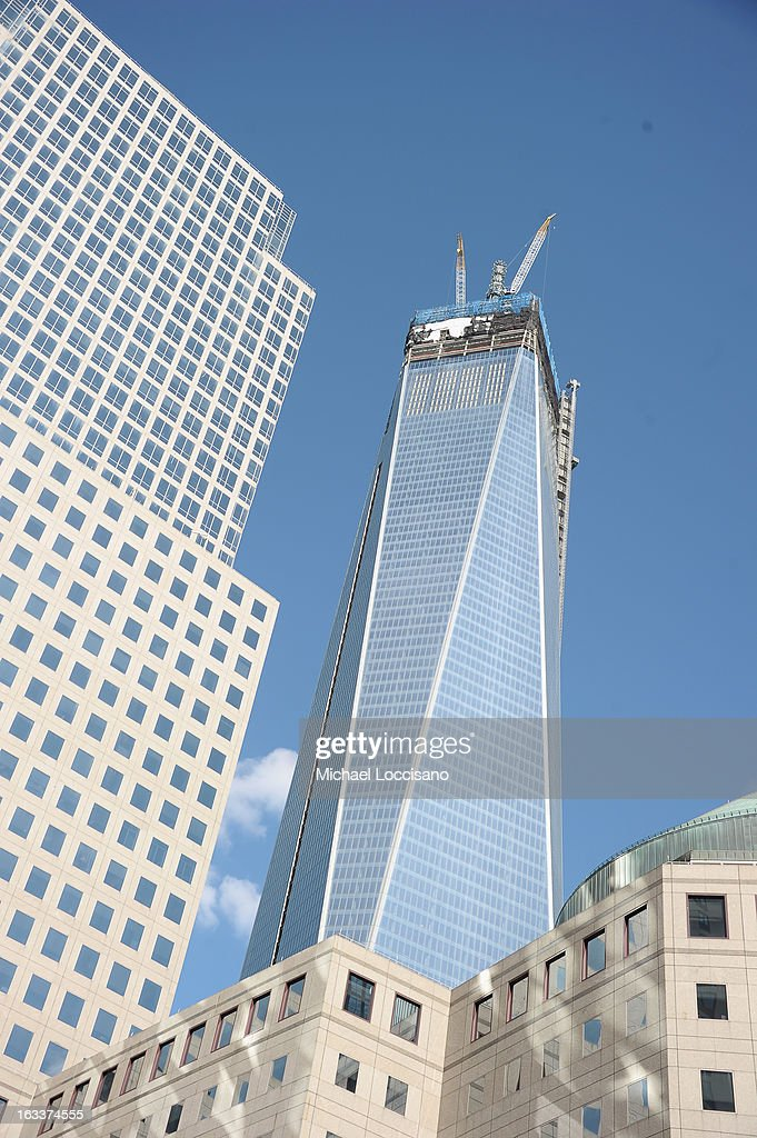 General view of One World Trade Center aka 1 WTC (C) standing in The World Financial Center on March 5, 2013 in New York City.